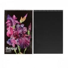 Cкетчбук А4 30л Красивые цветы  черный